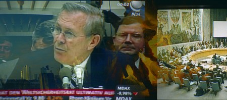 titel: 'Rumsfeld' c-print/aludibond 180cm x 65 cm jahr: 2003